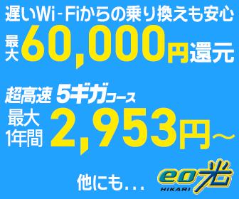 eo光 超高速5ギガコースが2,953円~