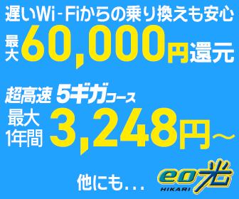 eo光 超高速5ギガコースが3,248円~